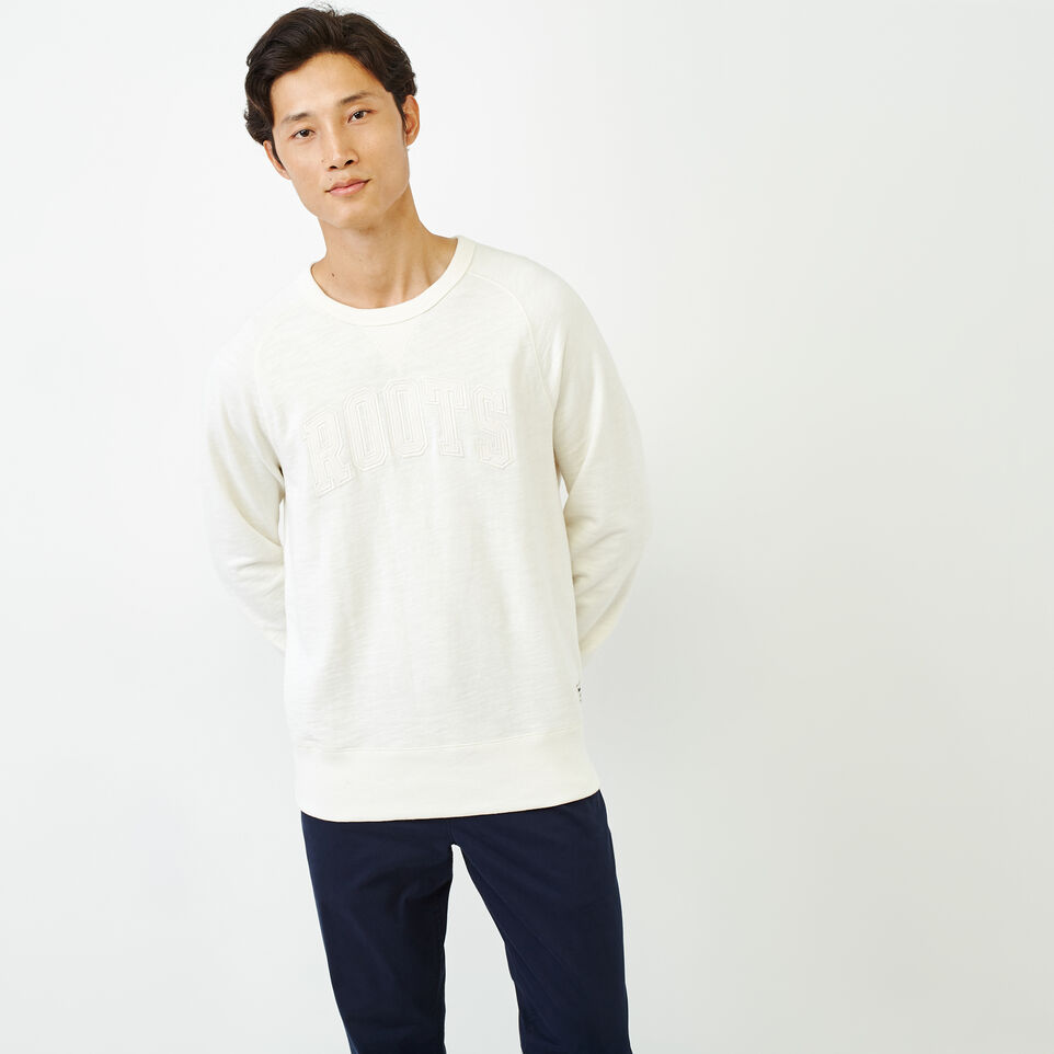 Roots-Men New Arrivals-50s Freedom Sleeve Crew Sweatshirt-Ivory-A