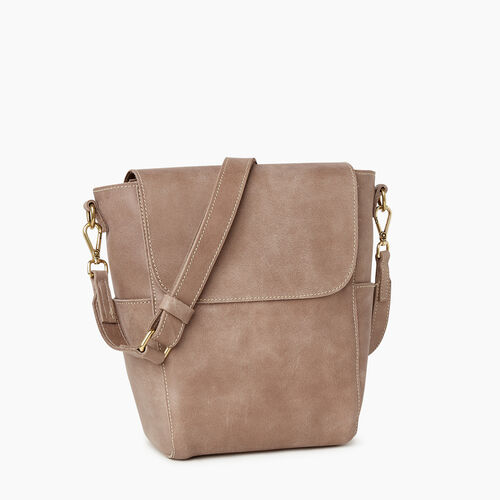Roots-Leather  Handcrafted By Us Handbags-Small Journey Bag-Fawn-A