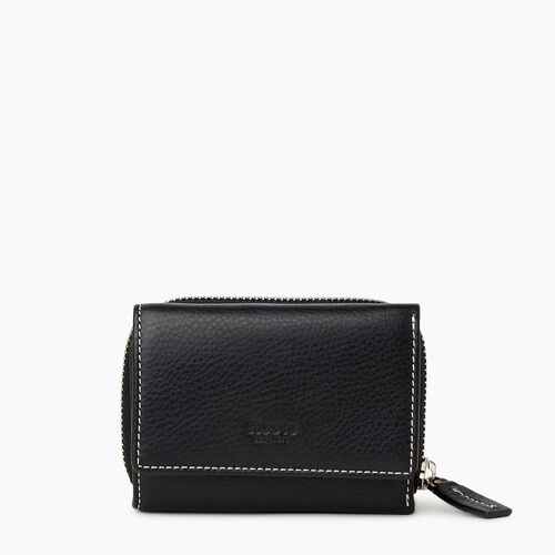Roots-Leather  Handcrafted By Us Categories-Small Trifold Clutch-Black-A
