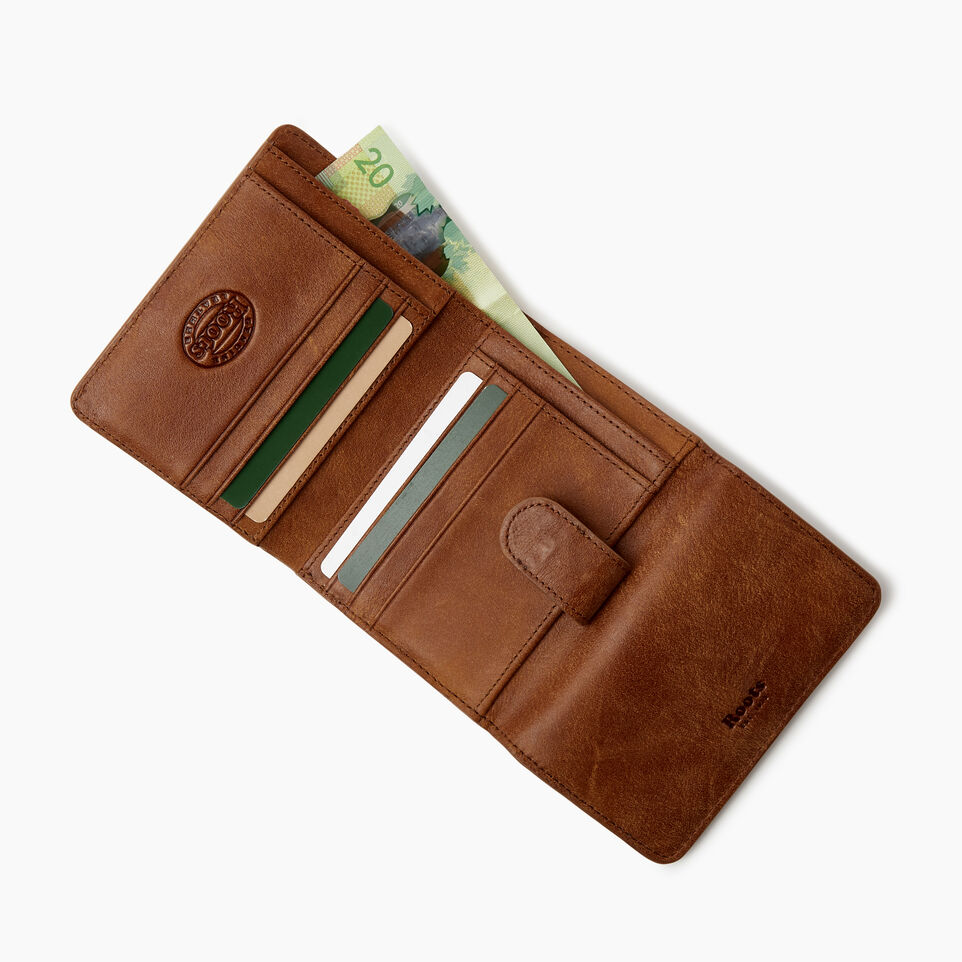 Roots-Women Clothing-Medium Tab Wallet-Champagne/ Natural-D