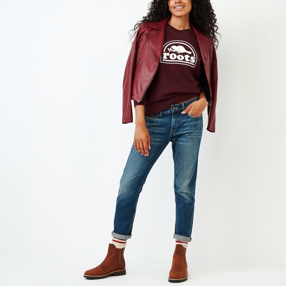 Roots-Women Our Favourite New Arrivals-Vault Relaxed Crew Sweatshirt-Crimson Mix-B