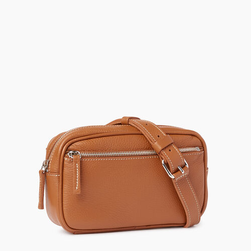 Roots-Leather Mini Leather Handbags-Roots Belt Bag-Caramel-A