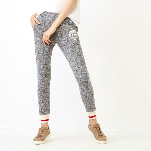Roots-Women Our Favourite New Arrivals-Cabin Sweater Fleece Slim Pant-Salt & Pepper-A