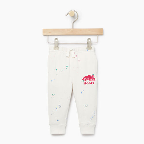 Roots-Kids Bottoms-Baby Splatter Sweatpant-Cannoli Cream-A