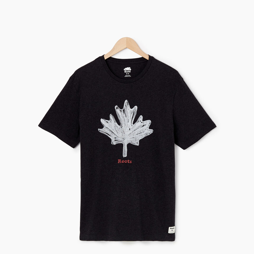 Roots-New For May Men-Mens Vintage Leaf T-shirt-Black Mix-A