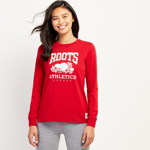 Roots-Women Graphic T-shirts-Womens RBA Long Sleeve T-shirt-Cabin Red-A