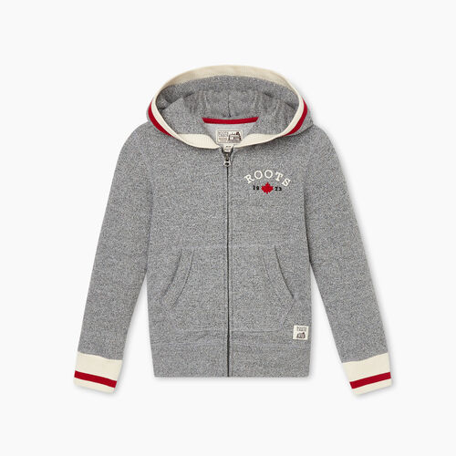 Roots-Kids Girls-Girls Cabin Cozy Full Zip Hoody-Salt & Pepper-A