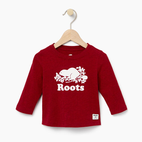 Roots-Kids Baby-Baby Original Cooper Beaver T-shirt-Cabin Red Pepper-A