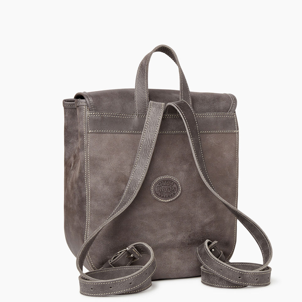 Roots-Leather New Arrivals-Little Nells Backpack-Charcoal-C