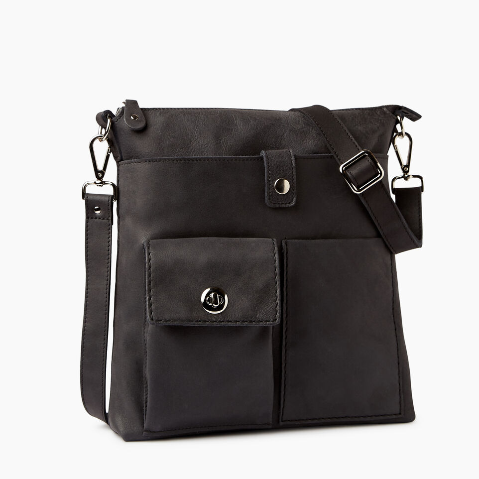 Roots-Leather  Handcrafted By Us Handbags-Canadian Villager-Jet Black-A