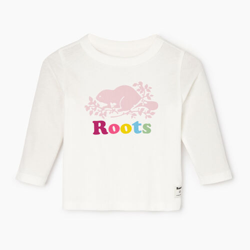 Roots-Kids Our Favourite New Arrivals-Baby Original Cooper Beaver T-shirt-Ivory-A
