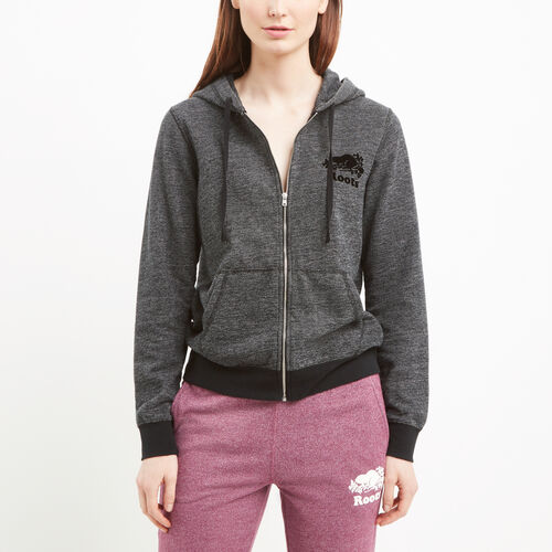 Roots-Women Sweats-Mabel Lake Full Zip Hoody-Black Pepper-A