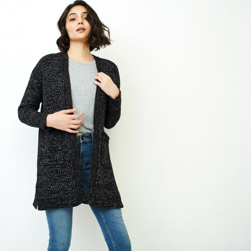 Roots-Women Sweaters & Cardigans-Snowy Fox Cardigan-Black Fox-A