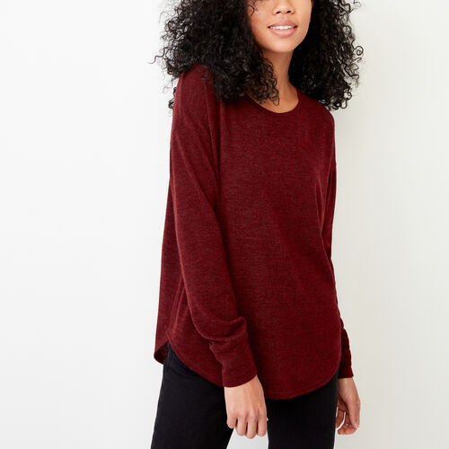 Roots-Women Long Sleeve Tops-Elk Top-Crimson Mix-A