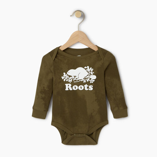 Roots-Kids Our Favourite New Arrivals-Baby Cooper Beaver Bodysuit-Winter Moss Green-A