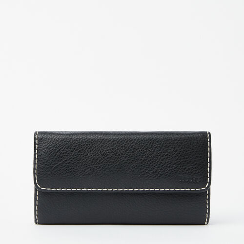 Roots-Leather Women's Wallets-Medium Trifold Clutch-Black-A