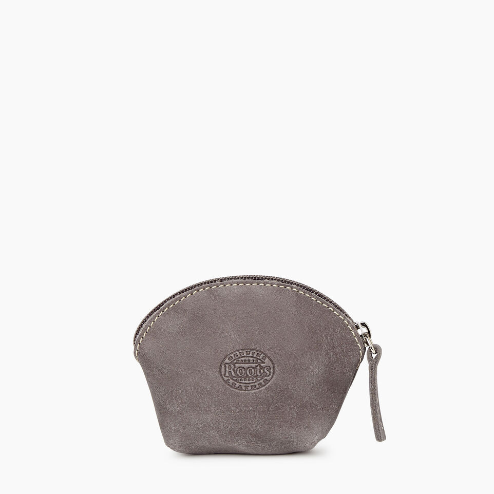 Roots-Women Leather Accessories-Small Euro Pouch-Charcoal-B