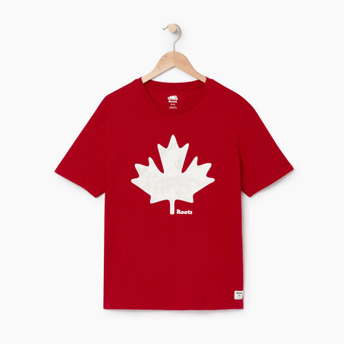 Roots-Men Graphic T-shirts-Mens Maple Chroma T-shirt-Sage Red-A