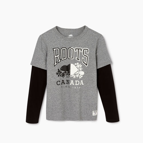 Roots-Kids Our Favourite New Arrivals-Boys Roots Classic T-shirt-Salt & Pepper-A