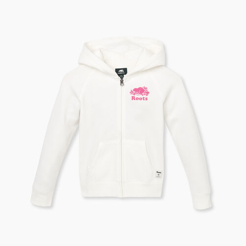 Roots-Kids New Arrivals-Girls Original Full Zip Hoody-Ivory-A