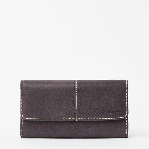 Roots-Leather Women's Wallets-Medium Trifold Clutch Tribe-Wineberry-A