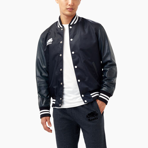 Roots-Leather Categories-Retro Varsity Jacket-Navy-A