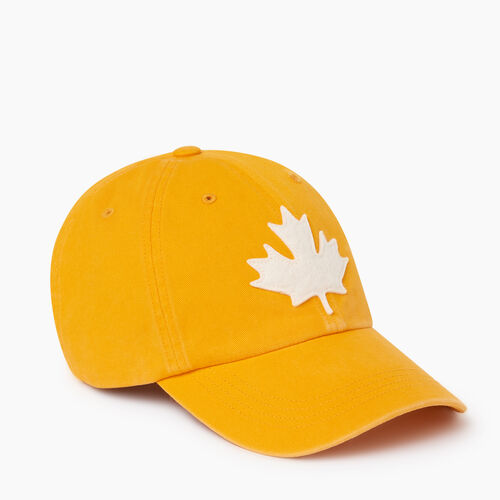 Roots-Men Our Favourite New Arrivals-Canada Leaf Baseball Cap-Squash Yellow-A