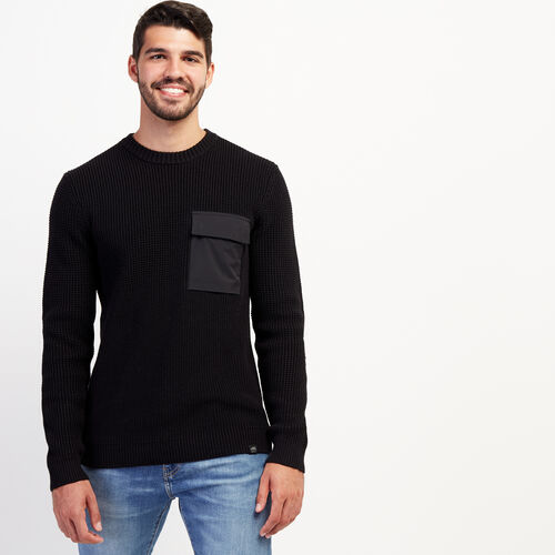 Roots-New For November Journey Collection-Journey Thermolite Crew Sweater-Black-A