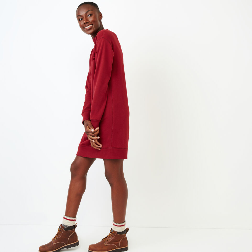 Roots-Women Our Favourite New Arrivals-Chevron Dress-Tibetan Red-C