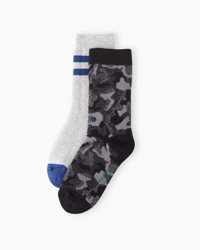 Roots-Sale Girls-Kids Camo Sock 2 Pack-Black Camo-A