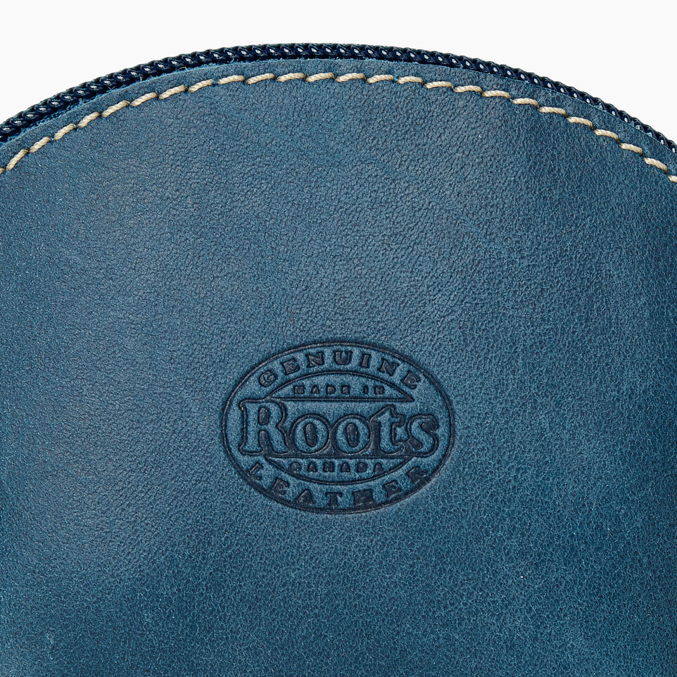 Roots-Leather Categories-Small Euro Pouch-Teal Green-D