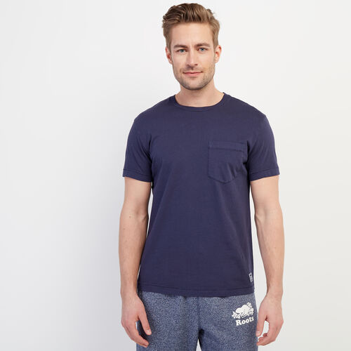 Roots-Men Clothing-Essential Pocket T-shirt-Navy Blazer-A