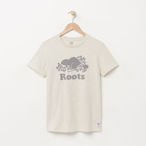 Roots-Women Graphic T-shirts-Womens Original Cooper Beaver T-shirt-White Grey Mix-A