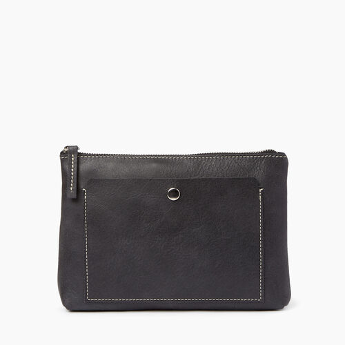 Roots-Leather Collections-Carrier Pouch-Jet Black-A