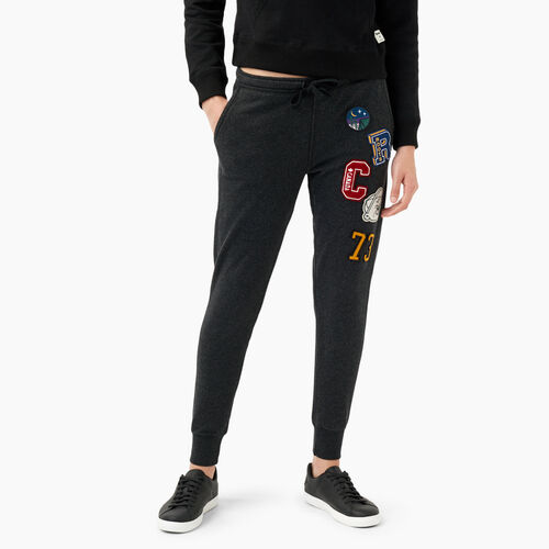 Roots-Women Bottoms-Varsity Patches Slim Jogger-Black Mix-A