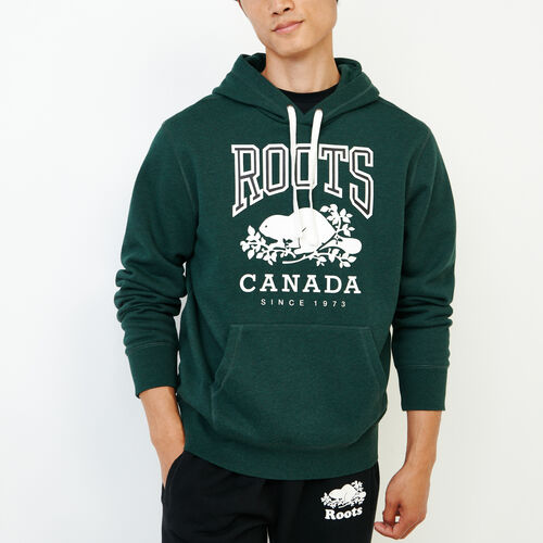 Roots-Men Sweatshirts & Hoodies-Classic Kanga Hoody-Park Green Mix-A