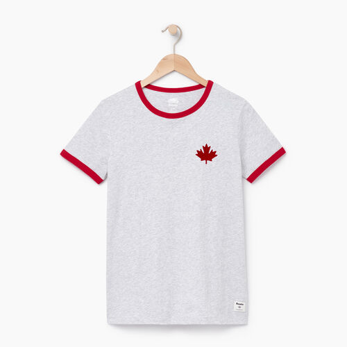 Roots-Women Tops-Womens Canada Ringer T-shirt-Snowy Ice Mix-A