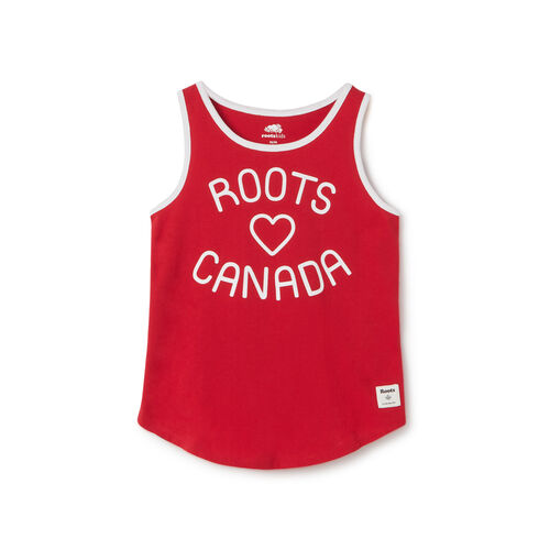 Roots-Kids New Arrivals-Girls Open Air Tank-Sage Red-A