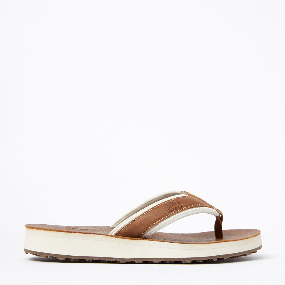 Roots-Women Footwear-Womens Tofino Flip Flop Leather-Natural-A