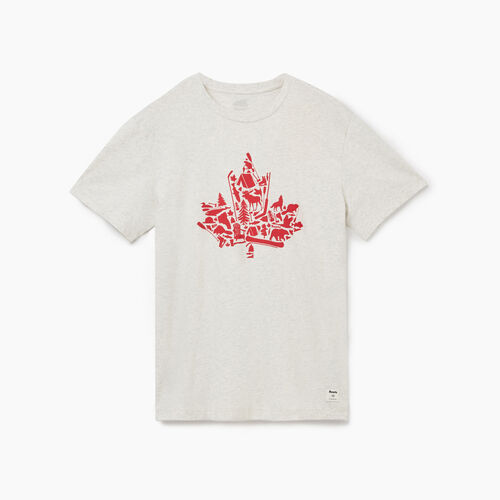 Roots-Men Graphic T-shirts-Mens Maple Collage T-shirt-White Mix-A