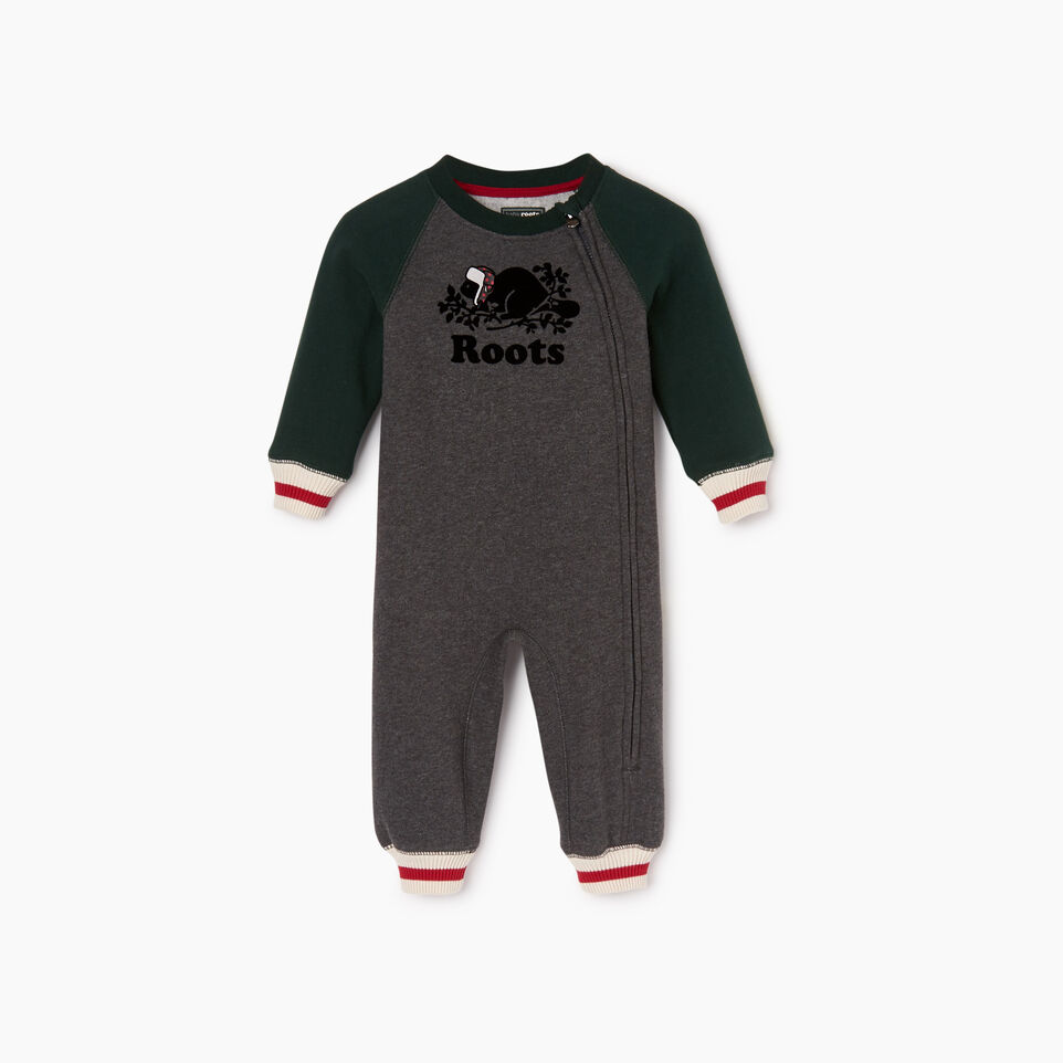 Roots-New For December Kids-Baby Buddy Romper-Varsity Green-A