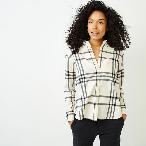 Roots-Women Categories-Relaxed Flannel Shirt-Ivory-A