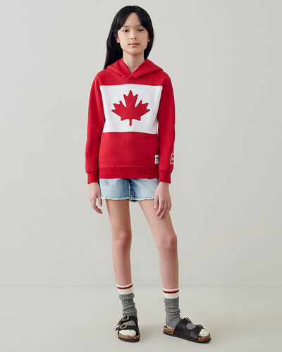 Roots-Kids Canada Collection-Kids Blazon Hoodie-Sage Red-A