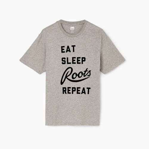 Roots-Clearance Men-Mens Hibernate T-shirt-Grey Mix Pepper-A