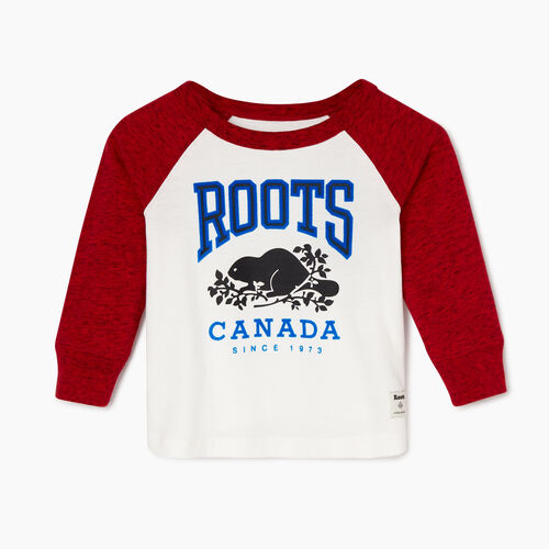 Roots-Sale Kids-Baby Classic Raglan T-shirt-Sage Red Pepper-A