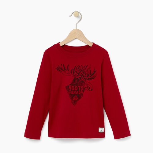 Roots-Kids T-shirts-Toddler Wilderness T-shirt-Cabin Red-A