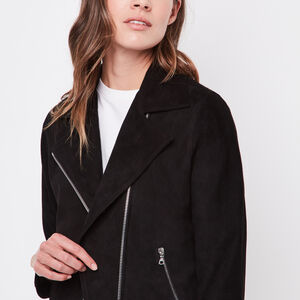 Roots-Leather Women's Leather Jackets-Shay Jacket Suede-Black-A
