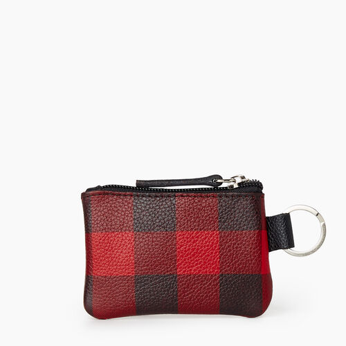 Roots-Leather New Arrivals-Park Plaid Top Zip Pouch Cervino-Cabin Red-A