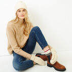 Roots-Women Tops-Nita Cable Sweater-Camel-B