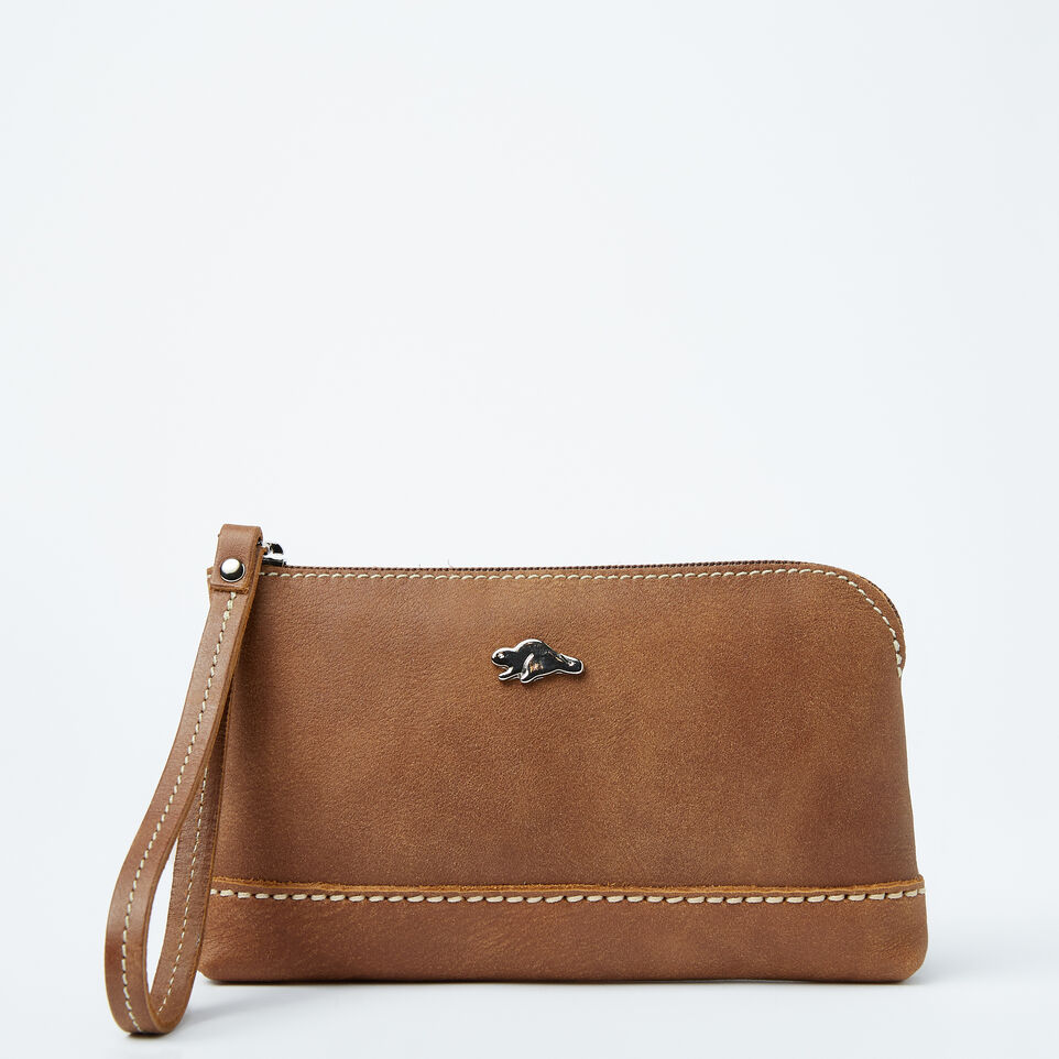 Roots-Women Leather Accessories-Funky Zip Pouch-Natural-A